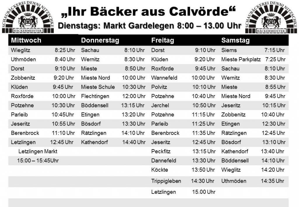 Schaubäckerei Calvörde: Tourplan 2019